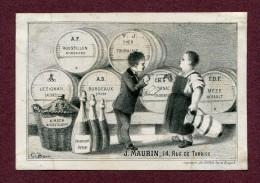 """MARCHAND DE VIN  :  """" Maison  J. MAURIN, 14 Rue Turbigo à Paris """"  XIXème Siècle - Publicités"""