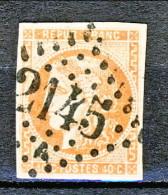 Francia, Em. Bordeaux 1870, Y&T  N. 48A C. 40 Arancio Vivo Annullo Grosse Cifre 2145 - 1870 Bordeaux Printing