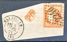 Francia, Em. Bordeaux 1870, Y&T  N. 48A C. 40 Arancio Vivo Annullo Grosse Cifre 2240 Frammento - 1870 Bordeaux Printing