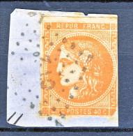 Francia, Em. Bordeaux 1870, Y&T  N. 48A C. 40 Arancio Vivo Annullo CI2° Frammento - 1870 Bordeaux Printing