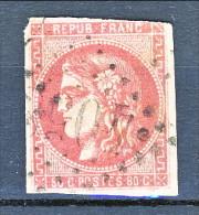 Francia, Em. Bordeaux 1870, Y&T  N. 49 C C. 80 Rosa Annullo Grosse Cifre 4053 - 1870 Bordeaux Printing