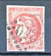 Francia, Em. Bordeaux 1870, Y&T  N. 49 C C. 80 Rosa Carminio Annullo Grosse Cifre 2240 - 1870 Bordeaux Printing