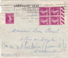 14075# SEMEUSE BLOC DE 4 COIN DATE 17.12.34 LETTRE Obl SETE HERAULT 1941 MONTPELLIER - 1921-1960: Periodo Moderno
