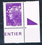 FRANCE - Marianne De Beaujard - Année 2011 - Réf. 4568 - Gommé - Monde 20g - Coin De Feuille - Neuf** - 2008-13 Marianne De Beaujard