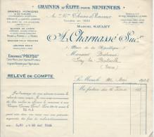 Relevé De Compte/Agriculture/ Graines D'Elite Pour Semence/ A. CHARNASSE Succ/LE MANS/1932      FACT68 - Agriculture
