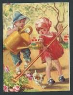 Grand Chromo  Ancien, Glacé.  15,5 X11,5.   Enfants, Jardinage,Jardinier Maladroit, Petit Chien... - Autres