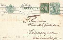 Schweden 1914 - 5 Öre Ganzsache + Zusatzfrankierung Auf Pk Gel.v. Stockholm > Wurtemburg