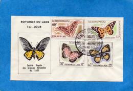 MARCOPHILIE- Enveloppe Illustrée  LAOS- FDC-1965 Butterfly4-stamps N°106-8+A46 - Laos