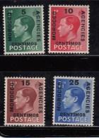 Morocco Agencies 1936 KGEVIII Sp Currency Mon Esp SG160-163  MH - Non Classificati