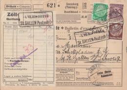 DR Paketkarte Mif Minr.343,468,473 Sonneberg 1.7.33 Gel. In Schweiz - Briefe U. Dokumente
