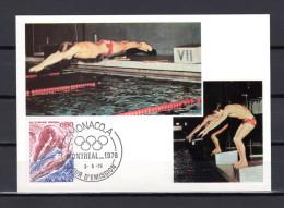 """1976 : Carte Maximum N° YT 1057 """" J.O. DE MONTREAL : NATATION / PLONGEON """". Parfait état. CM"""