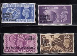 Morocco Agencies 1948 KGVI OLYMPIC GAMES Sp Currency Mon Esp SG178-181 MNH - Gran Bretagna (vecchie Colonie E Protettorati)
