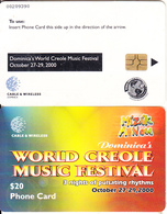 DOMINICA(chip) - World Creole Music Festival 2000, Chip GEM6b, Used - Dominica