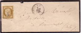AUBE - ANCIS-S-AUBE - CERES N°1 - OBLITERATION PC 109 - ENVELOPPE DU 9-6-1853 - TIMBRE COTE 750€ SUR LETTRE. - Postmark Collection (Covers)