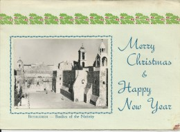 Bethlehem Basilica Of The Nativity (inside : Flowers Of The Holy Land )Wishes For Christmas 2 Scans - Palestine