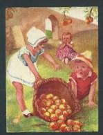 Grand Chromo Ancien - 15,5 X 11,5.- Cueillette De Pommes,  Enfants. Belle Illustration.  Image Glacée. - Collections