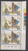 B5110 ZAMBIA 1989, SG 584  K18.50 On K2 Pipe Smoking,  MNH Traffic Light And Control Corner Block Of 3 - Zambia (1965-...)