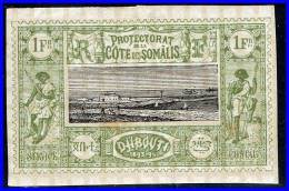 SOMALI COAST 1894 1Fr WARRIORS SC#18  MH Full PERIOD GUM (D02878) - French Somali Coast (1894-1967)