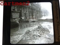 PARIS INONDATIONS 1910 LE BOULEVARD HAUSSMANN CRUE DE LA SEINE 75 PLAQUE DE VERRE PHOTOGRAPHIE CLICHE UNIQUE - Glass Slides