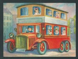 Grand Chromo Ancien - 15,5 X 11,5.-   Superbe Autobus à 2 étages. Image Glacée. - Autos