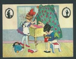 Grand Chromo Ancien - 15,5 X 11,5.-    Enfants Jouant à Papa Et Maman. Bébé Dans Berceau, Moulin à Café, . Image Glacée. - Fiches Illustrées