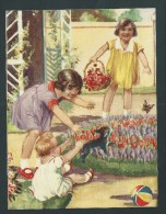 Grand Chromo Ancien - 15,5 X 11,5.-  Enfants, Plantation De Tulipes, Petit Chien. Image Glacée - Fiches Illustrées