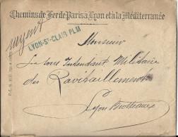 Franchise Postale - Lyon St Clair PLM. Chemin De Fer De Paris à Lyon Et à La Méditerranée Pour Lyon Brotteaux - 1801-1848: Precursors XIX