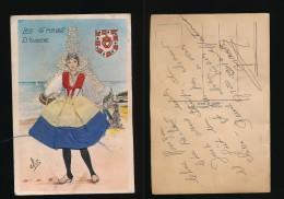 FANTAISIE-LES SABLES D'OLONNE-Carte Brodée Et Dentelle-----------signée Eloi - Brodées