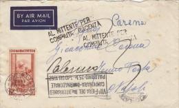 PALERMO /  NAPOLI  - Cover_Lettera  FERMO POSTA   21.5.1952 - Annullo FIERA DEL MED.- L´Italia Al Lavoro Lire 25 Isolato - 6. 1946-.. Repubblica