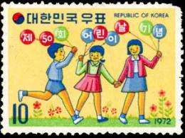 1972 South Korea 50th Children's Day Stamp Balloon Kid Boy Girl - Childhood & Youth