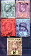 STRAITS SETTLEMENTS 1902 King Edward VII Set Of 5 USED CV$6.50 - Straits Settlements