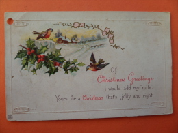 "45023 POSTCARD:  GREETINGS: CHRISTMAS:  Of CHRISTMAS GREETINGS I Would Add My ""mite"" Etc. Etc. - Christmas"
