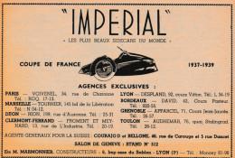 "- Ancienne PUBLICITE  Pour SIDECARS "" IMPERIAL "" - 017 - Moto"