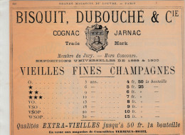 """- Ancienne PUBLICITE Pour VIEILLES FINES CHAMPAGNE """" BISQUIT, DUBOUCHE & Cie """" à JARNAC, Charente - 018 - Spirituosen"""