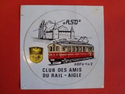 Autocollant, Sticker, Aufkleber, Aigle Sepey Diablerets, Vaud Suisse, Club Des Amis Du Rail, ABFe 4/4 2 - Chemin De Fer