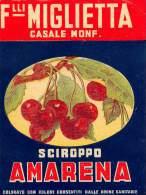 """03278 """"F.LLI MIGLIETTA - SCIROPPO AMARENA - CASALE MONFERRATO"""". ETICHETTA ORIGINALE - Etichette"""