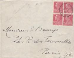 14093# BERTHELOT N° 243 BLOC DE 4 LETTRE Obl PARIS 22 R. TAITBOUT 1927 - Marcophilie (Lettres)