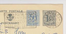 BELGIQUE ENTIER POSTAL DOUBLE TIMBRE 50 C BLEU + 1,50 GRIS POUR WIEN AUTRICHE - 2 Scans - - Stamped Stationery