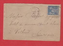 Enveloppe De  Paris ---  Pour Vetheuil  ---   9 Fev 1883 - Postmark Collection (Covers)