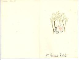 Menu  De Fiançailles à Lisle Le 21 Mai 1960 - Dessin D´une Scène D'escarpolette - Double Feuil Et Plié - Nom De L'invité - Menú