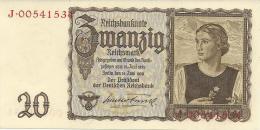 GERMANY 20 REICHSMARK 1939 PICK 185 UNC - Altri
