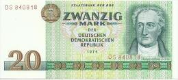 GERMANY DEMOCRATIC REPUBLIC 20 MARK 1975 PICK 29a UNC - [ 6] 1949-1990 : GDR - German Dem. Rep.