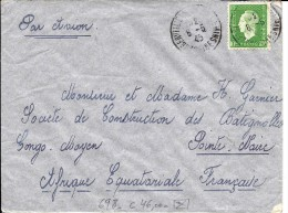 N° 698 Seul AUBERVILLIERS 8.5.45 S/Lettre AVION V. POINTE-NOIRE (AEF). Yvert = 46 EUROS. TB - 1944-45 Marianne De Dulac