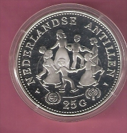 NEDERLANDSE ANTILLEN 25 GULDEN 1979 SILVER PROOF YEAR OF THE CHILD MINT.25000 PCS KM22 SCRATCHES ONLY ON CAPSEL - Antilles Neérlandaises