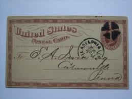 USA 1875 POSTCARD PHILADELPHIA MARK - 1847-99 General Issues