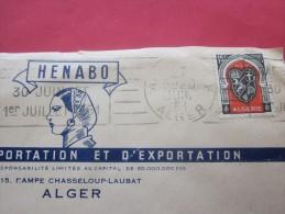 1951 Lettre Par Avion A En Tête S'était Importation Exportation Henabo Judaïca Alger Algérie Ex Département Français - Algeria (1924-1962)
