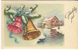 Unknown Danish Postcard, Glædelig Jul, Christmas Bells Ans Stream, Artist Signed HCO, 1959 - Navidad