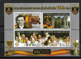 2005 TURKEY THE CENTENARY OF THE GALATASARAY SPORTS CLUB SOUVENIR SHEET MNH ** - Blokken & Velletjes