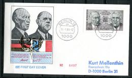 "First Day Cover Germany,Allemagne 1988 Mi.Nr.1351 Erstagsbrief ""25 Jahre Vertrag über Zasammenarbeit, "" 1 FDC - De Gaulle (Generale)"