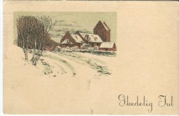 Unknown Danish Postcard, Glædelig Jul, Church In Countryside, 1934 - Noël